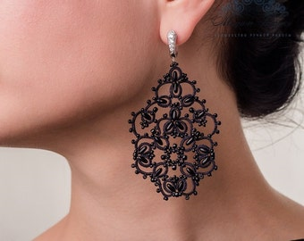 "Tatting Lace earrings ""Angelica"" French lace handmade earrings evening shuttles"