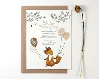 10 Personalized Invitations - Fox and Party Balloons