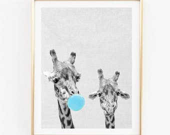Giraffes print, nursery wall art, giraffe bubble gum poster, bubble gum wall decor, funny wall art, safari animals, boy's room digital art