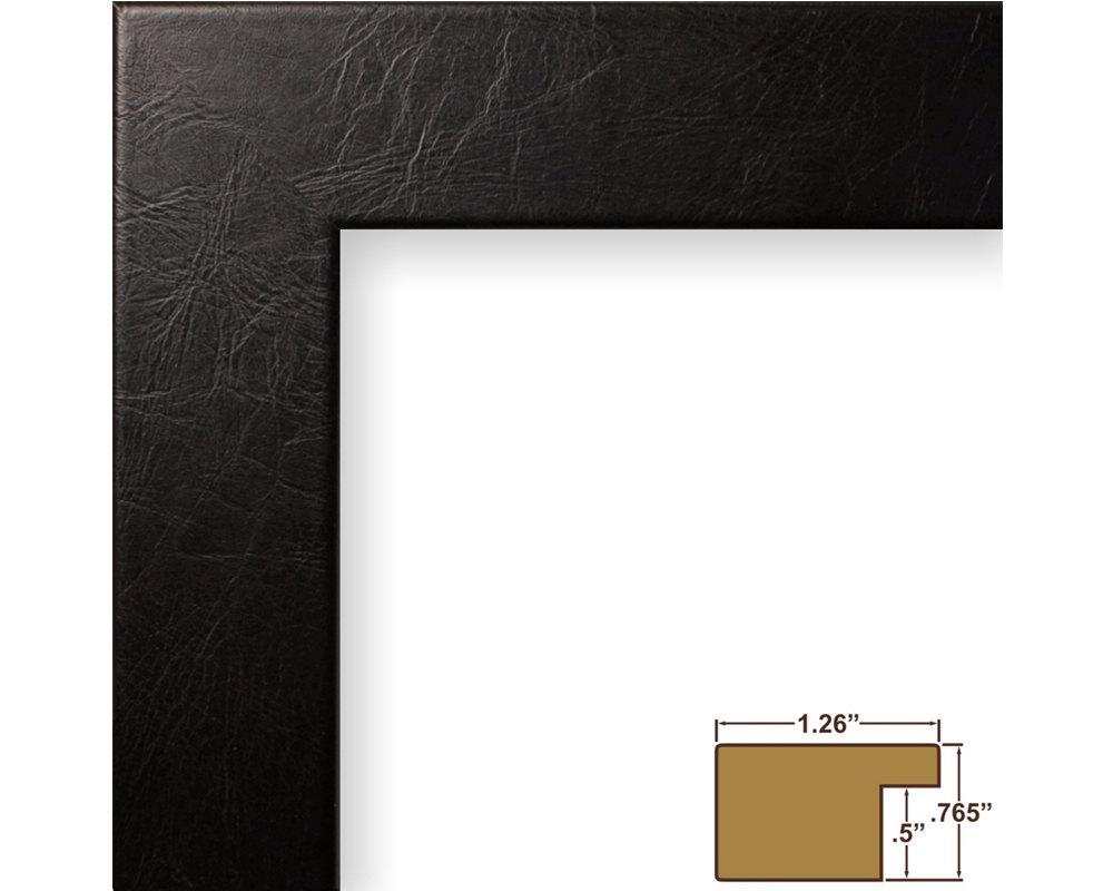Craig Frames, 18x24 Inch Black Leather Picture Frame, Bauhaus 1.25 ...