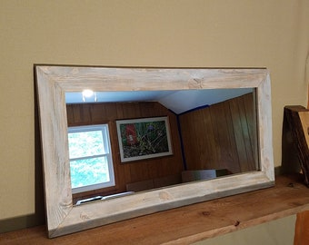 Wood framed mirror, Rustic mirror, Farmhouse style mirror, Bathroom mirror, Vanity mirror, Wall mirror. Mirror glass is reclaimed.