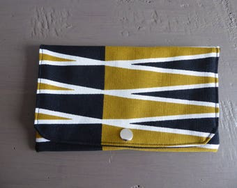 Tobacco pouch or clutch in mustard and black graphic fabric