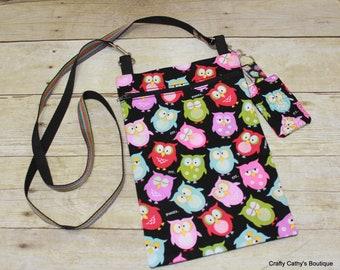 Crossbody Bags, Hipster Bags, Tablet Bag, eReader Bag, Key Chain, Key Fob, Owls, Multi Color