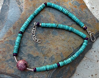 Turquoise Heishi Necklace w/Purple & Silver Accents/Floating Focal Bead/Urban Tribal . Rustic Boho Tribal Southwest Style Jewelry