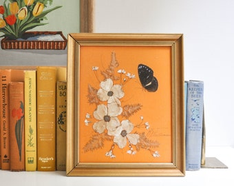 Vintage Framed and Signed Real Butterfly and Flowers Wall Hanging