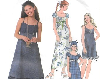 Simplicity 5656 Empire Waist Dress and Sundress Sewing Pattern Sizes 7 to 16 Puffed Sleeves