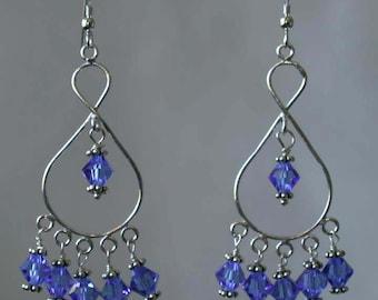 Handmade Swarovski Crystals and Sterling Silver Earrings - Christine