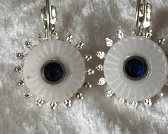 Vintage Chinese Ceramic Button Earrings with Royal Blue Glass Sequin decoration