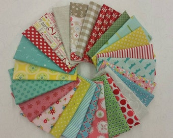Fun and Bright Fat Eighth Bundle of 25 assorted fabrics
