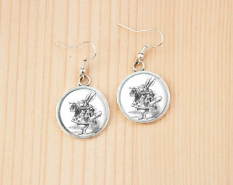 White rabbit Alice in Wonderland round earrings glass picture art present gift idea christmas birthday
