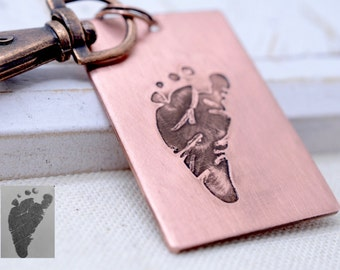 Your Child's ACTUAL Footprint - Personalized New Baby Keychain - Copper Brass or Silver Custom Message Gift for New Mom Dad - Father's Day