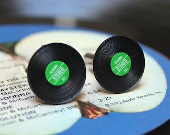 Vinyl Record Cuff Links Green
