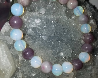 Lilac Lepidolie and opalite