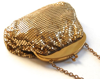 Whiting & Davis Gold Mesh Evening Bag Vintage Pouch 1920s Flapper Purse Retro Bags and Purses