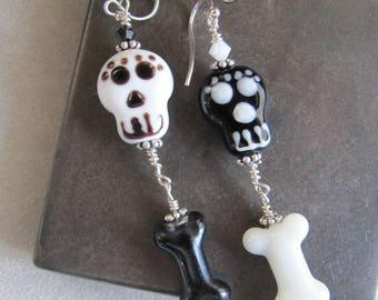 Asymmetrical Dia de los Muertos Day of the Dead Sugar Skull Earrings EHAG