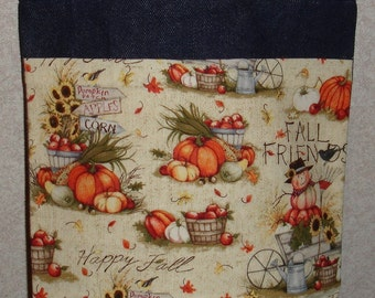 New Small Handmade Fall Friends Harvest Autumn Denim Tote Bag Purse