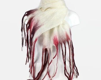 Felted scarf, merino wool scarf, white with red tassels, fashion scarf, long scarf, womens fashion, shawl, wrap, wet felting
