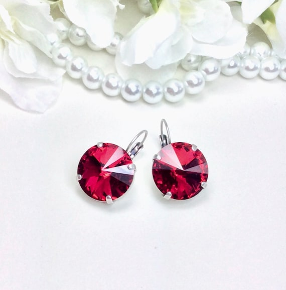 Swarovski Crystal 18MM Scarlet MEGA Drop Earrings - Big and Beautiful - Perfect Classy Jewelry -FREE SHIPPING