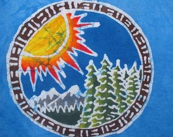 Adult Batik Mountain Forest Sun T-shirt