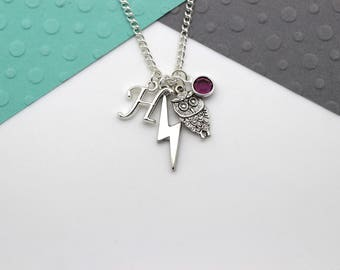 Personalized Owl and Lightning Bolt Charm Necklace, Hedwig Necklace, Personalised Swarovski Birthstone & Initial Name Gift