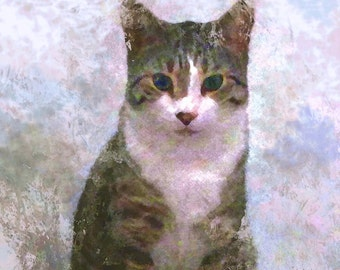 Custom portrait pet painting portrait digital art mixed technics handmade pencil on paper ink watercolor digital artwork