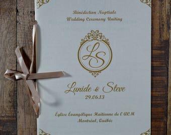 Ribbon Wedding Booklet, Ribbon Wedding Program, Wedding Program With Ribbon, Wedding Ceremony Program With Ribbon, Church Ceremony Program
