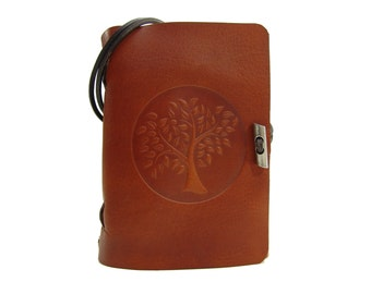 Leather book  - soft OX life tree Lion - A6 - 400 pages - diary of Vicky's World