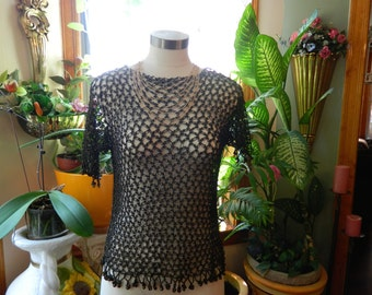 Black Crochet Top with Bead Detail Size M/L