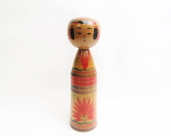 Kokeshi Doll.Vintage Yajiro Traditional.by Tatsuo Sato.Japanese Folk Art. 182mm.#dk42.msjapan