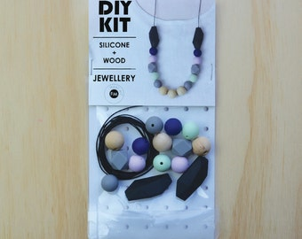 Silicone beads and Wood Necklace/Necklace DIY KIT/jewellery supplies - Black Navy Mauve Mint Silicone and Natural Wood beads