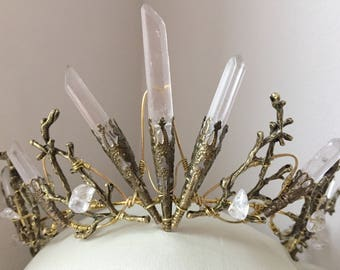 The PERSEPHONE Crown - Clear Raw Crystal Quartz & Copper Branch Twig Antler Coral Crown - Alternative Bride, Festival, Woodland, Fairy Witch