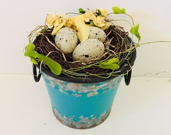 Turquoise Teal Bucket Bird Nest Decor  - Rustic Primitive Distressed Vignette Bird Theme Tabletop Decor Patio Porch - Shabby Cottage Chic