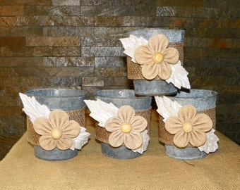 "Burlap Flowers, Lace Leaves, SET of 4 Grey Galvanized Metal Buckets, 4 1/2"" High Just add Potted Flowers, Orgainzer, Brushes, Pencils"