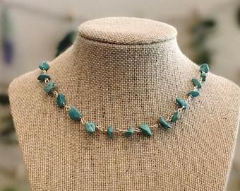 Turquoise Gemstones Linked Necklace
