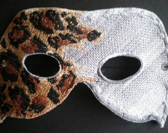 Embroidered Lepoard Kings Mask, Halloween or Mardi Gras Adult Mask