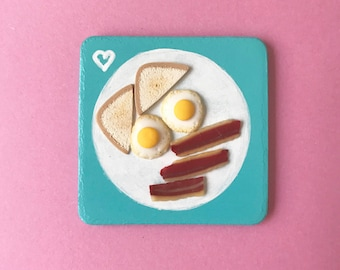 Bacon and Eggs Polymer Clay Plaque