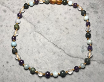 """12"""" All The Feels // little kid big emotions // empathic // healing // cleansing // hand knotted gemstone childrens necklace //"""