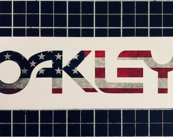 Oakley Logo Grunge American Flag Decal Sticker Ski Snowboard Goggles Retro