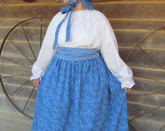 Old Fashioned Colonial Laura Ingalls  1800s Little House on the Prairie -Royal Blue Pioneer Woman- Adult Sizes