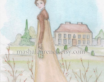 Setting off to Netherfield  5x7 art print  Pride and Prejudice