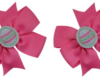 Embroidered Easter Egg Hair Bow Set
