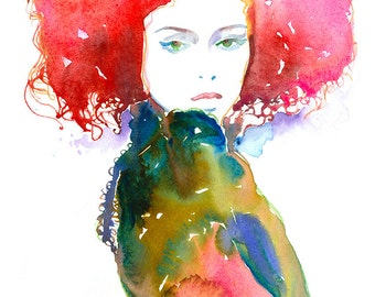 Watercolor Fashion Ilustration Print,  Fashion Illustration, Fashion Poster, Fashion Wall Art, Fashion Gift, Cheveux Rouge, Cate Parr