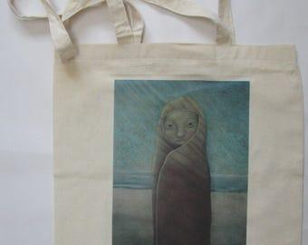 linnen tas, Schilder Hermanus, Poëtisch Realisme, verzamelen, print, cadeau, verjaardag, winkelen, school, meisje, shoppen, romantisch, lief