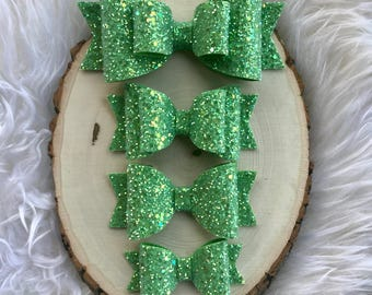 Lime Green Glitter Hair Bow, Green Hair Bow, Girls Green Hair Bow