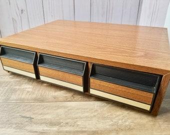 Retro Audio Cassette  Storage Holder,  Music Storage Box Organizer, 80s Cassette Tapes, 42 ct tape storage