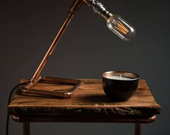 Handmade industrial copper table lamp