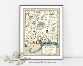 NEW MEXICO MAP Print - size & color choices - personalize it - vintage picture map print - perfect wedding or housewarming gift
