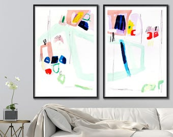 Giclee Print of Modern abstract painting  Large Wall Art 28x40, Abstract Art, Mint green Painting, blue tan by Duealberi