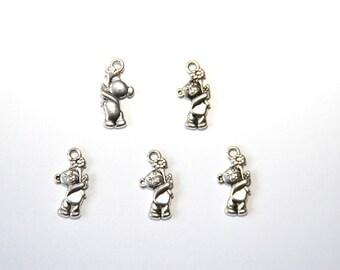 5 PCs Charm / Metal Pendant / little bear / antique silver tone / 10x19mm   A112