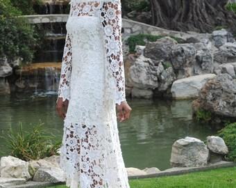 High Low Lace BOHEMIAN WEDDING DRESS | Off Shoulder Crochet Lace Hippy Hippie Wedding Dress | Bell Sleeve | Handmade Bohemian 70s Style